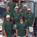 Team Shenanigan in their customized Sport-Tek Dri-Mesh shirts and Gill sailing shorts, ready for a long race!